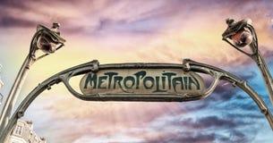 знак paris метро Подземный символ Стоковые Фото