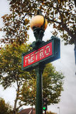 знак paris метро Франции Стоковое Изображение RF