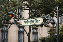 знак paris метро Франции Стоковые Фотографии RF