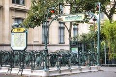 знак paris метро Франции Стоковое Изображение