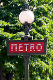 знак paris метро Стоковое Изображение