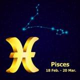 Знак Pisces зодиака вектора иллюстрация вектора