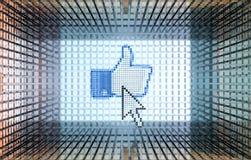 знак pixeled стрелкой thumbs вверх по миру Стоковые Фото