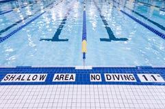 Знак Poolside заплывания Стоковая Фотография