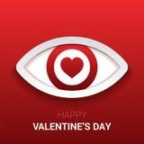 Знак ` s валентинки Глаз с сердцем в зрачке Стоковая Фотография