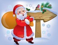 Знак Santa Claus деревянный бесплатная иллюстрация