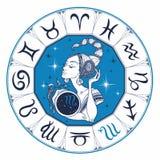Знак Scorpio астрологический как красивая девушка horoscope космофизики вектор иллюстрация штока