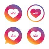 Знак wifi влюбленности свободный Символ Wifi иллюстрация вектора