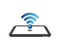 Знак Wifi на таблетке цифров Стоковая Фотография