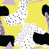 Знамена битника с предпосылками в стиле Мемфиса, 80 ` s, с красочными абстрактными формами Стоковые Изображения