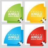 Знамена бумаги округленного угла Origami Шаблон ценника для каталога Стикеры цвета вектор Стоковые Фото