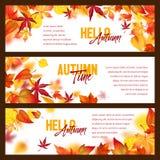 Знамена вектора листьев падения листвы осени падая иллюстрация вектора