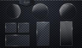Знамена вектора стеклянные на прозрачном иллюстрация вектора