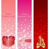 Знамена вертикали пинка дня Valentine. Стоковое Изображение