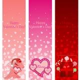 Знамена вертикали пинка дня Valentine. Стоковые Фотографии RF