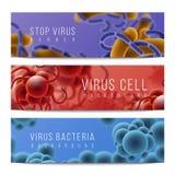Знамена вирусов и бактерий Семенозачатки инфекция и объекты, лихорадка и грипп микробиологии 3D знамена горизонтальные r бесплатная иллюстрация