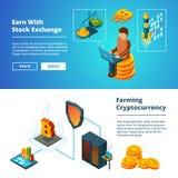 Знамена дела Cryptocurrency Компания денег глобального blockchain ico секретная цифровая чеканит вектор минирования равновеликий иллюстрация штока