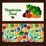 Знамена еды в плоском стиле Стоковая Фотография RF