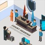 Знамена заседания суда Процесс закона в судебной полиции подсудимого и векторе символов расспрашивания преступления равновеликом иллюстрация штока