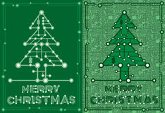 Знамена зеленого цвета украшают с элементами компьютера и материнской платы Стоковое Изображение