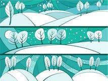 Знамена зимы с деревьями шаржа Стоковая Фотография