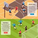 Знамена игр поля спорта равновеликие иллюстрация штока