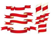 знамена красные иллюстрация вектора