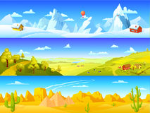 Знамена красочного ландшафта горизонтальные Стоковые Фото