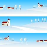 Знамена ландшафта зимы Стоковое Изображение