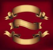 Знамена лент золота горизонтальные бесплатная иллюстрация
