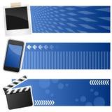 Знамена мультимедиа горизонтальные Стоковые Изображения RF