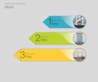 3 знамена номера, конструкция и infographics инженерства, диаграмма, столбцы данным по цвета с 3 вариантами, веб-дизайном Ar Стоковая Фотография