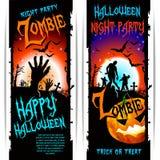 Знамена партии зомби хеллоуина вектора Стоковая Фотография RF