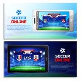 Знамена передачи футбола онлайн Стоковое Изображение RF