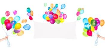 Знамена праздника с красочными воздушными шарами Стоковые Фотографии RF