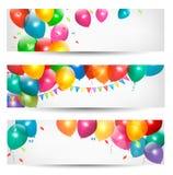 Знамена праздника с цветастыми воздушными шарами Стоковая Фотография
