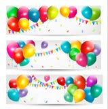 Знамена праздника с цветастыми воздушными шарами Стоковая Фотография RF