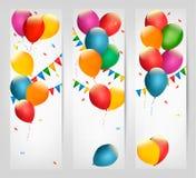 Знамена праздника с цветастыми воздушными шарами Стоковое Изображение