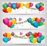 Знамена праздника с цветастыми воздушными шарами Стоковые Фото