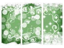 Знамена рождества, зеленые иллюстрация вектора