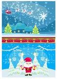 Знамена рождества и Нового Года, смешной Санта Клаус бесплатная иллюстрация