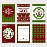 Знамена рождества установили - продажа и поздравительные открытки Стоковая Фотография