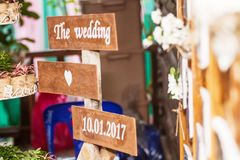 Знамена свадьба были красивым оформлением в свадьбе Стоковые Фотографии RF