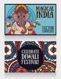 Знамена с лордом Ganesha и этническим орнаментом Стоковые Изображения