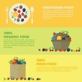 Знамена с свежими ягодами и плодоовощами Еда концепции здоровая иллюстрация вектора