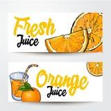 Знамена с стеклом сока, апельсинов и места для текста иллюстрация штока