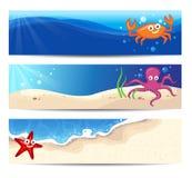 Знамена с тварями моря иллюстрация вектора