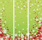 Знамена с цветками и сердцами вишни. Desi весны бесплатная иллюстрация