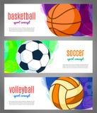 Знамена с шариками спорт - баскетболом, волейболом, футболом Резвит турниры в баскетболе, волейболе, футболе с иллюстрация штока