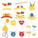 Знамена торжества вечеринки по случаю дня рождения, плоская иллюстрация вектора иллюстрация вектора
